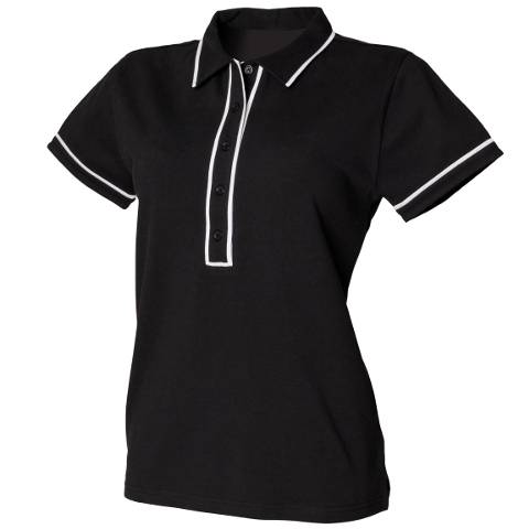 polo-shirts.co.uk SF Ladies Contrast Piped Polo Shirt