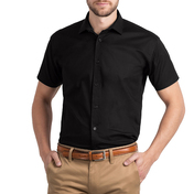 B&C Men's Black Tie Short Sleeve Shirt
