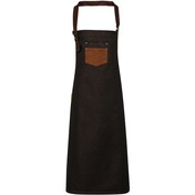 Premier Division Waxed-Look Denim Bib Apron With Faux Leather