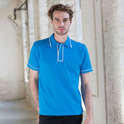 SF Men Contrast Piped Cotton Polo Shirt