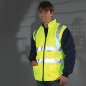 Yoko Hi-Vis Diamond Quilted Jacket With Detachable Sleeves